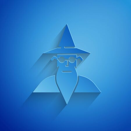 Paper cut Wizard warlock icon isolated on blue background. Paper art style. Vector Illustration