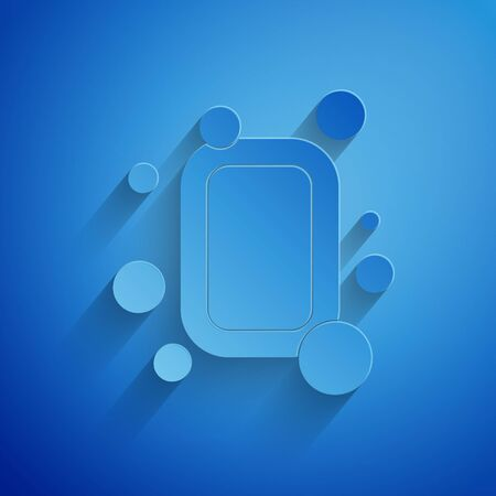 Paper cut Bar of soap icon isolated on blue background. Soap bar with bubbles. Paper art style. Vector Illustration