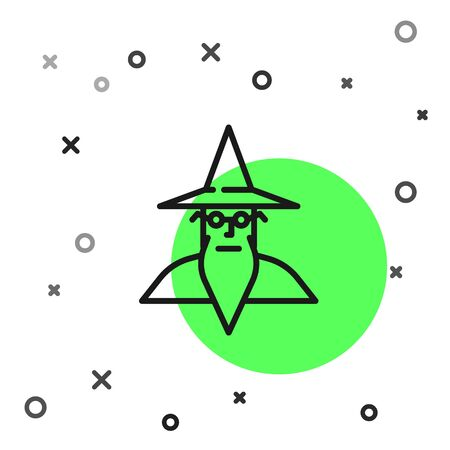 Black line Wizard warlock icon isolated on white background. Vector Illustration