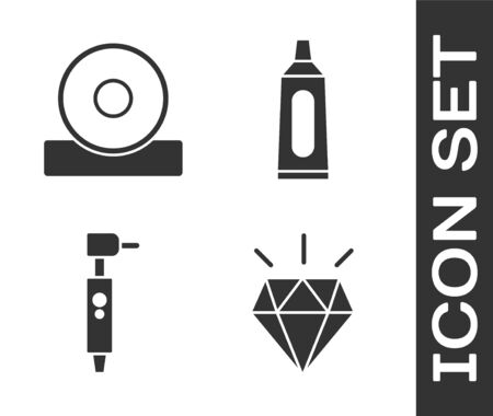 Set Diamond teeth, Otolaryngological head reflector, Tooth drill and Tube of toothpaste icon. Vector