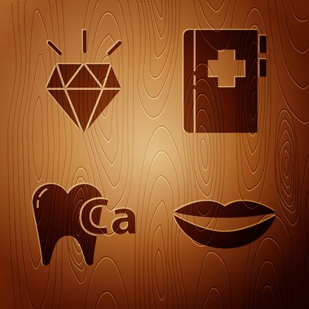 Set Smiling lips, Diamond teeth, Calcium for tooth and Clipboard with dental card on wooden background. Vector Ilustração