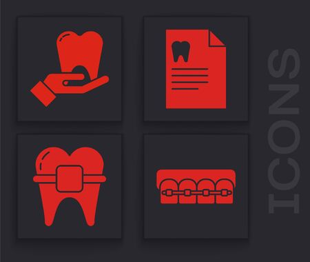 Set Teeth with braces, Tooth, Clipboard with dental card and Teeth with braces icon. Vector