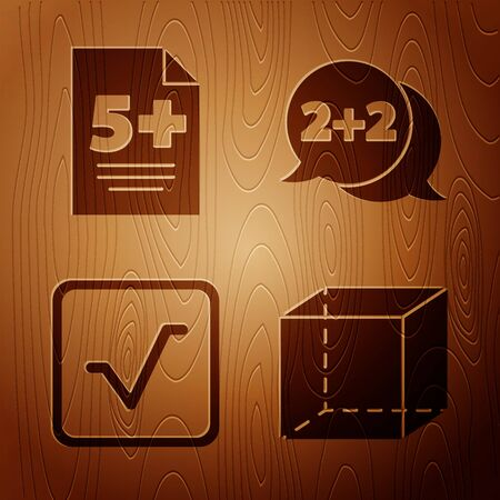Set Geometric figure Cube, Test or exam sheet, Square root and Equation solution on wooden background. Vector