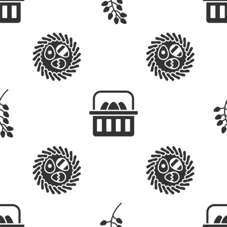 Set Willow leaf, Basket with easter eggs and Easter egg in a wicker nest on seamless pattern. Vector