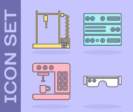 Set Smart glasses, 3D printer, Coffee machine and Server, Data, Web Hosting icon. Vector Illustration