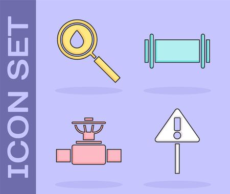 Set Exclamation mark in triangle, Oil drop, Industry pipe and valve and Industry pipe icon. Vector