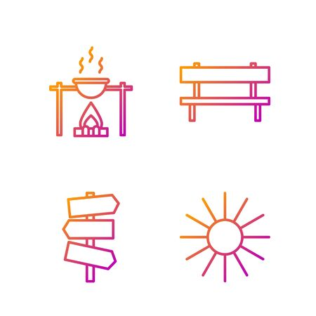 Set line Sun, Road traffic signpost, Campfire and pot and Bench. Gradient color icons. Vector
