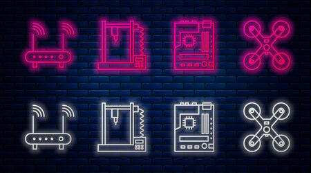 Set line 3D printer, Motherboard, Router and wifi signal and Drone flying. Glowing neon icon on brick wall. Vector