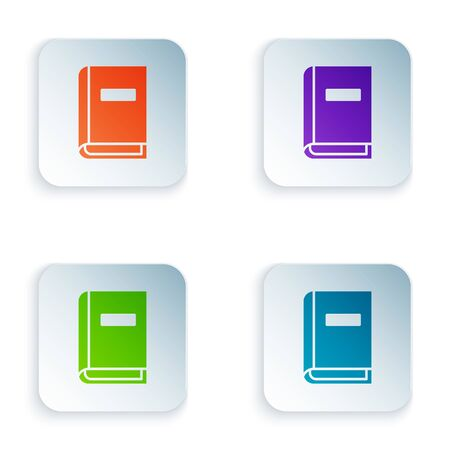 Color User manual icon isolated on white background. User guide book. Instruction sign. Read before use. Set colorful icons in square buttons. Vector Illustration Vetores
