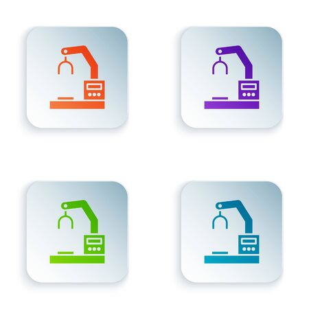 Color Industrial machine robotic robot arm hand factory icon isolated on white background. Industrial robot manipulator. Set colorful icons in square buttons. Vector Illustration