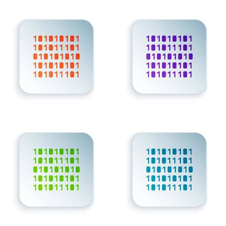 Color Binary code icon isolated on white background. Set colorful icons in square buttons. Vector Illustration