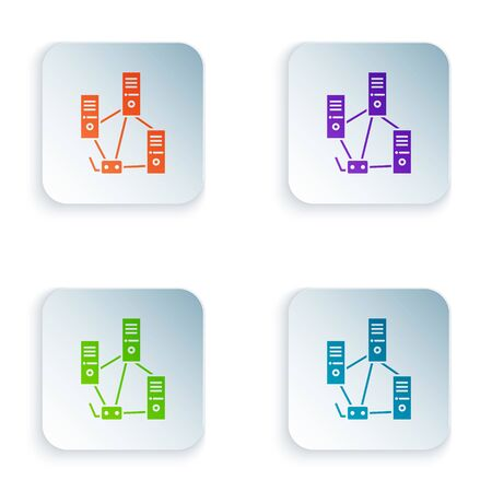 Color Computer network icon isolated on white background. Laptop network. Internet connection. Set colorful icons in square buttons. Vector Illustration Illustration