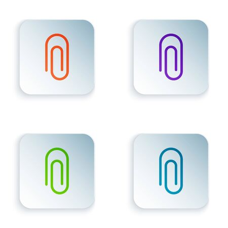 Color Paper clip icon isolated on white background. Set colorful icons in square buttons. Vector Illustration Illustration