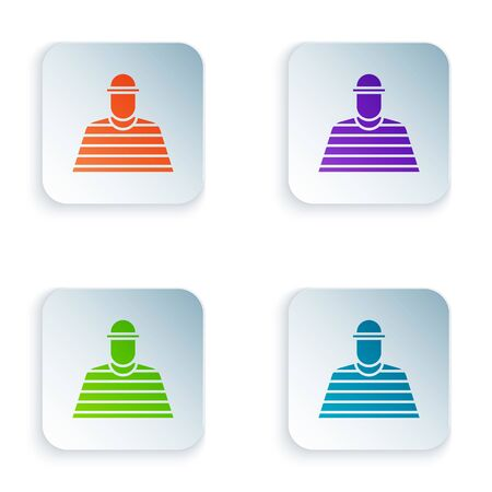 Color Prisoner icon isolated on white background. Set colorful icons in square buttons. Illustration