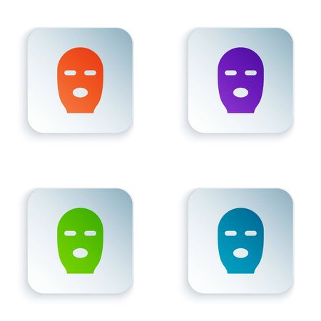 Color Thief mask icon isolated on white background. Bandit mask, criminal man. Set colorful icons in square buttons. Vector Illustration