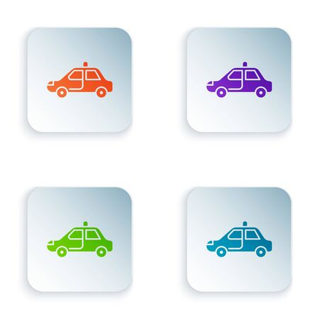 Color Police car and police flasher icon isolated on white background. Emergency flashing siren. Set colorful icons in square buttons. Illustration Illustration