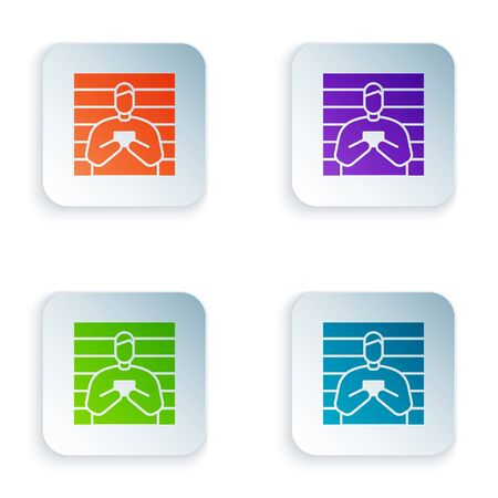 Color Suspect criminal icon isolated on white background. The criminal in prison, suspected near the board. Set colorful icons in square buttons. Vector Illustration