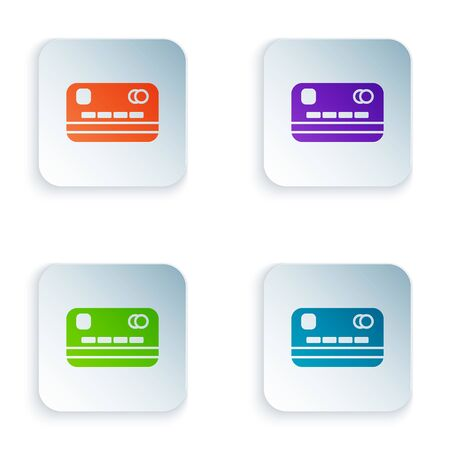 Color Credit card icon isolated on white background. Online payment. Cash withdrawal. Financial operations. Shopping sign. Set colorful icons in square buttons. Vector Illustration Illustration