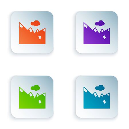 Color Mountains icon isolated on white background. Symbol of victory or success concept. Set colorful icons in square buttons. Vector Illustration