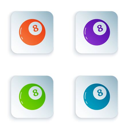 Color Magic ball of predictions for decision-making icon isolated on white background. Crystal ball. Set colorful icons in square buttons. Vector Illustration