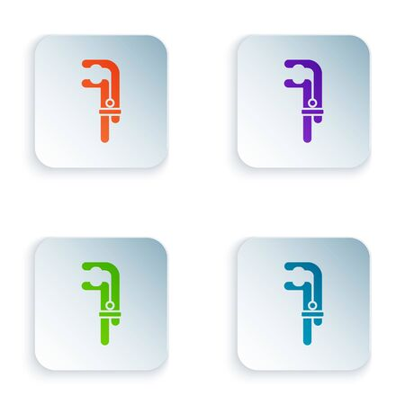 Color Clamp tool icon isolated on white background. Locksmith tool. Set colorful icons in square buttons. Vector Illustration