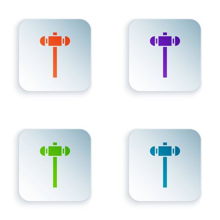 Color Sledgehammer icon isolated on white background. Set colorful icons in square buttons. Vector Illustration