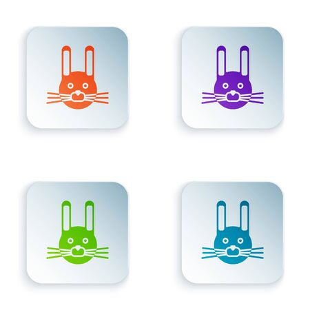Color Easter rabbit icon isolated on white background. Easter Bunny. Set colorful icons in square buttons. Vector Illustration