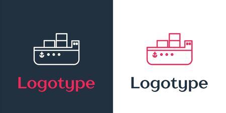 Logotype line Oil tanker ship icon isolated on white background. Logo design template element. Vector Illustration 矢量图像