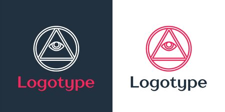 Logotype line Masons symbol All-seeing eye of God icon isolated on white background. The eye of Providence in the triangle. Logo design template element. Vector Illustration