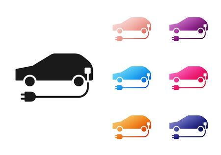 Black Electric car and electrical cable plug charging icon isolated on white background. Renewable eco technologies. Set icons colorful. Vector Illustration