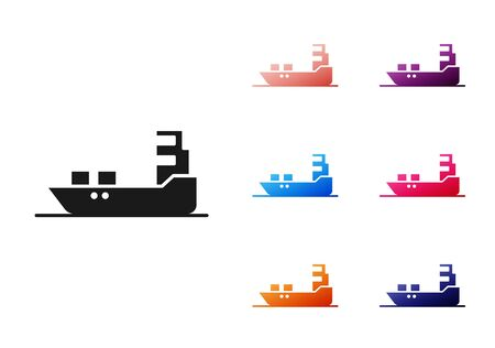 Black Oil tanker ship icon isolated on white background. Set icons colorful. Vector Illustration