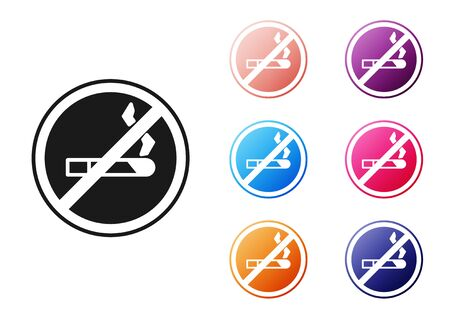 Black No Smoking icon isolated on white background. Cigarette symbol. Set icons colorful. Vector Illustration