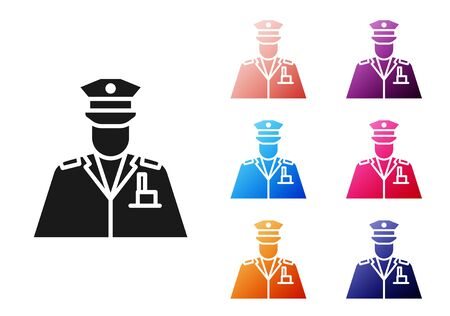 Black Police officer icon isolated on white background. Set icons colorful. Vector Illustration