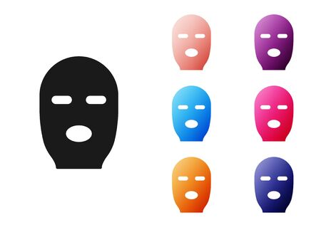 Black Thief mask icon isolated on white background. Bandit mask, criminal man. Set icons colorful. Vector Illustration Çizim