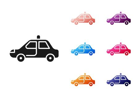 Black Police car and police flasher icon isolated on white background. Emergency flashing siren. Set icons colorful. Vector Illustration Illustration