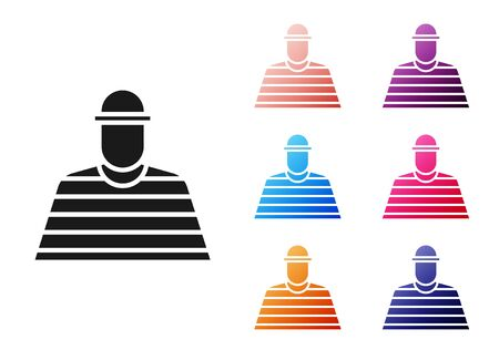 Black Prisoner icon isolated on white background. Set icons colorful. Vector Illustration