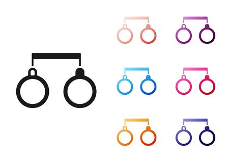 Black Handcuffs icon isolated on white background. Set icons colorful. Vector Illustration Vecteurs