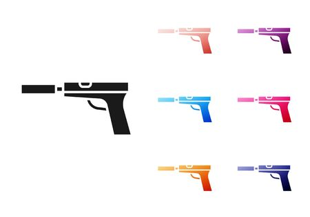 Black Pistol or gun with silencer icon isolated on white background. Set icons colorful. Vector Illustration Ilustrace