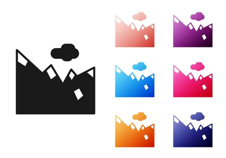 Black Mountains icon isolated on white background. Symbol of victory or success concept. Set icons colorful. Vector Illustration