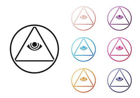 Black Masons symbol All-seeing eye of God icon isolated on white background. The eye of Providence in the triangle. Set icons colorful. Vector Illustration