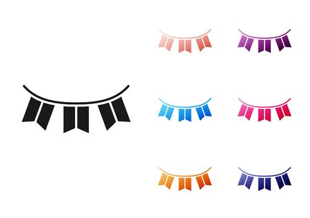 Black Carnival garland with flags icon isolated on white background. Party pennants for birthday celebration, festival decoration. Set icons colorful. Vector Illustration