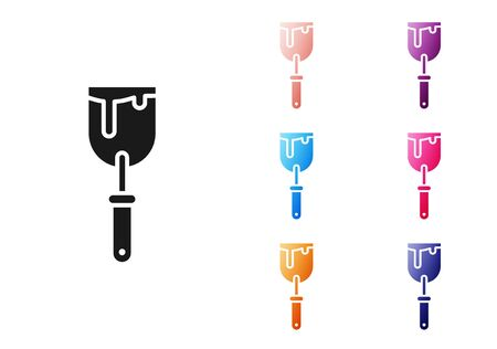Black Putty knife icon isolated on white background. Spatula repair tool. Spackling or paint instruments. Set icons colorful. Vector Illustration Illustration