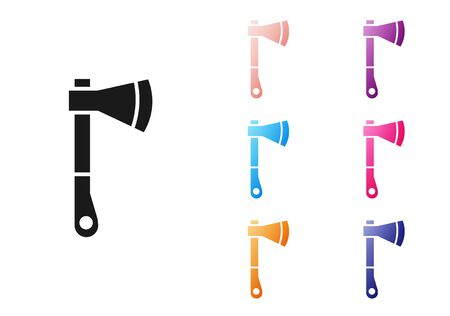 Black Wooden axe icon isolated on white background. Lumberjack axe. Set icons colorful. Vector Illustration