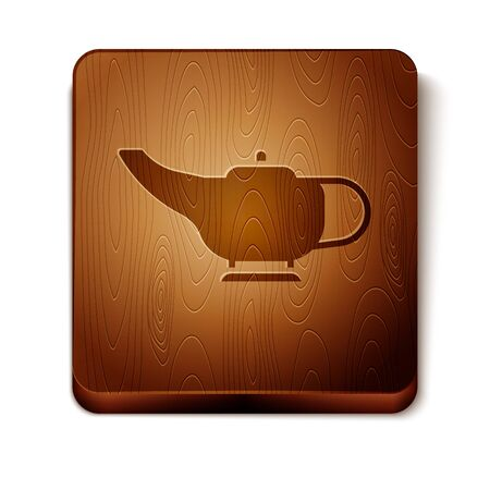 Brown Magic lamp or Aladdin lamp icon isolated on white background. Spiritual lamp for wish. Wooden square button. Vector Illustration