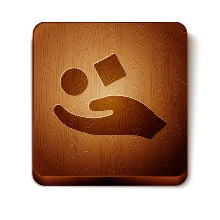 Brown Cube levitating above hand icon isolated on white background. Levitation symbol. Wooden square button. Vector Illustration