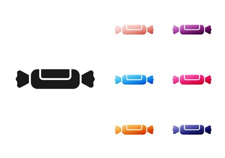 Black Candy icon isolated on white background. Set icons colorful. Vector Illustration