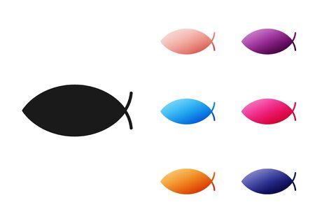 Black Christian fish symbol icon isolated on white background. Jesus fish symbol. Set icons colorful. Vector Illustration