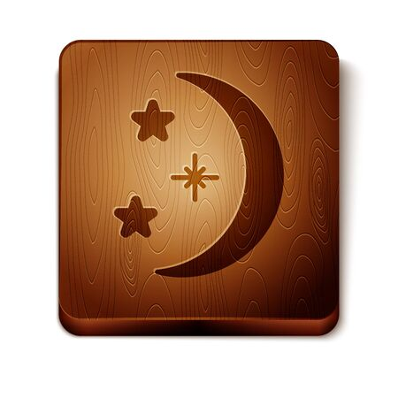 Brown Moon and stars icon isolated on white background. Wooden square button. Vector Illustration