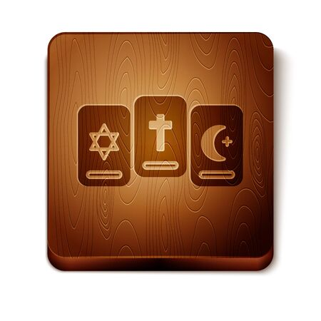 Brown Three tarot cards icon isolated on white background. Magic occult set of tarot cards. Wooden square button. Vector Illustration
