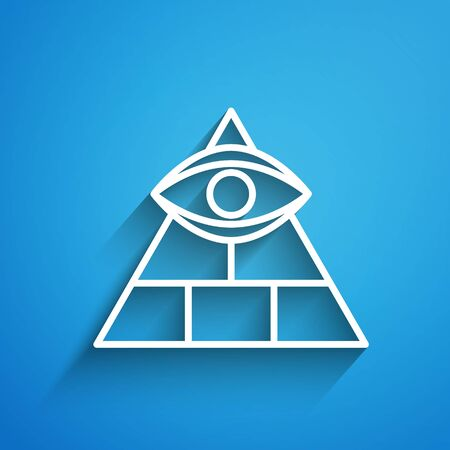 White line Masons symbol All-seeing eye of God icon isolated on blue background. The eye of Providence in the triangle. Long shadow. Vector Illustration